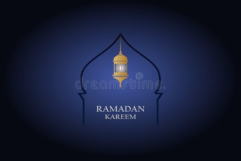 Het ontwerp van de Ramadan kareem groet met Islamitische lantaarn voor moslim communautaire illustratie stock illustratie