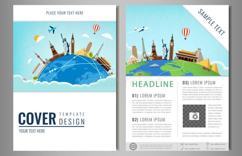 Het ontwerp van de reisvlieger met beroemde wereldoriëntatiepunten Brochurekrantekop voor Reis en Toerisme Vector vector illustratie