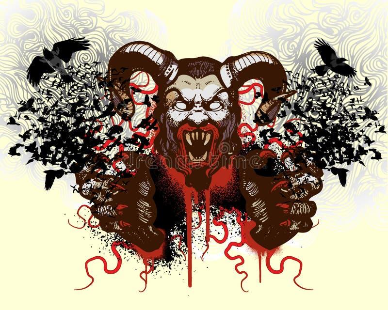 Het ontwerp van de t-shirt met monsterhoofd vector illustratie