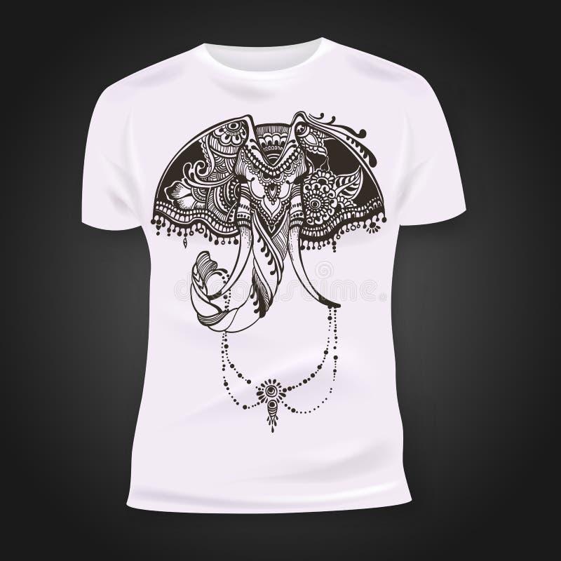 Het ontwerp van de t-shirtdruk met hand-drawn hoofd van de mehendiolifant Etnische Afrikaans, Indisch, het ontwerp van totemtatoo stock fotografie