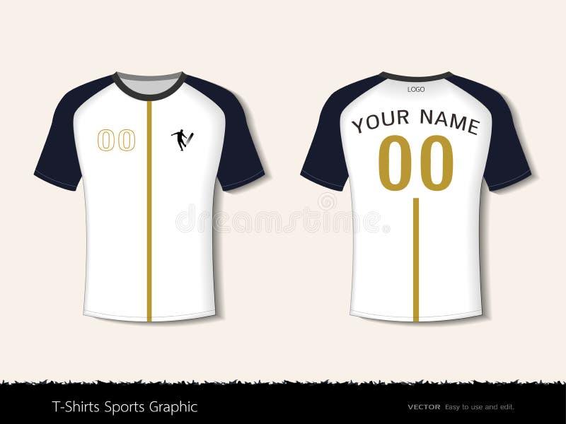 Het ontwerp van de t-shirtsport voor voetbalclub, Voor en achtermeningsvoetbal eenvormig Jersey, de kledingsspot van Sport slanke vector illustratie