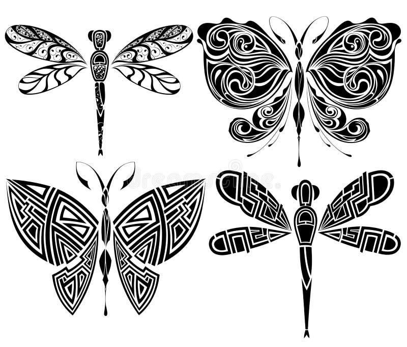 Het ontwerp van de tatoegering: vlinder, libel stock illustratie
