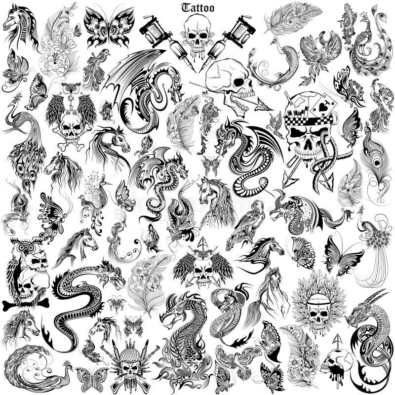 Het ontwerp van de tatoegeringskunst van Schedel, Paard, de inzameling van de Draak anf Flora vector illustratie