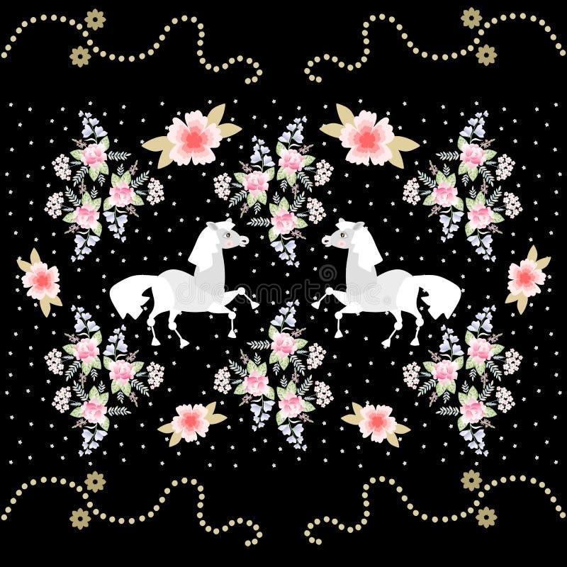 Het ontwerp van de theedoos Leuke beeldverhaalpaarden en mooie bloemen op zwarte achtergrond royalty-vrije illustratie