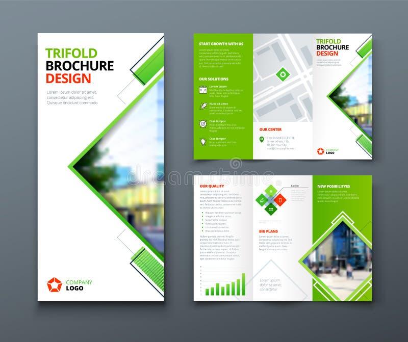 Het Ontwerp van de Trifoldbrochure Collectief bedrijfsmalplaatje voor trifoldvlieger met ruit vierkante vormen vector illustratie