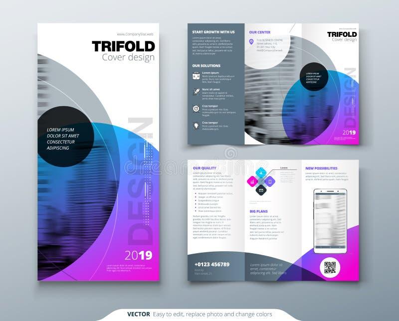 Het Ontwerp van de Trifoldbrochure Purper collectief bedrijfsmalplaatje voor trifoldvlieger Lay-out met moderne cirkelfoto en vector illustratie