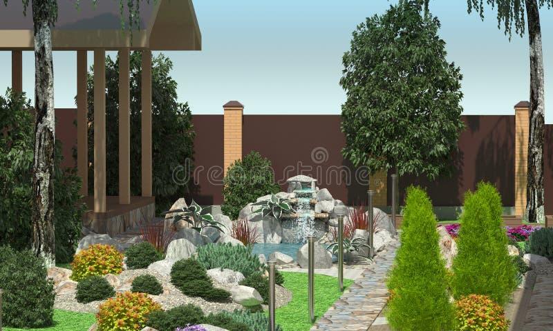 Het ontwerp van de tuin Een kleine vijver met een waterval Tuinperceel stock illustratie