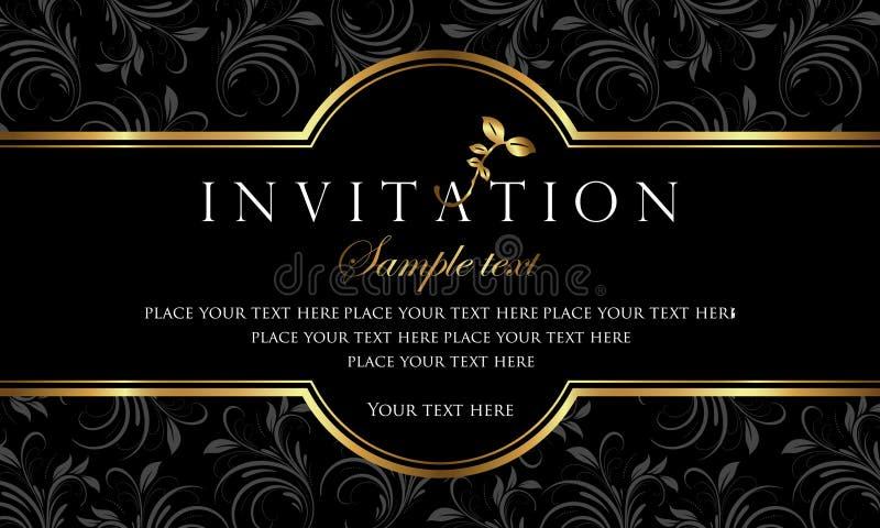 Het ontwerp van de uitnodigingskaart - luxe zwarte en gouden retro stijl royalty-vrije illustratie