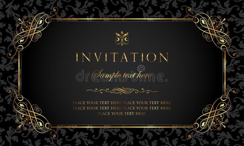 Het ontwerp van de uitnodigingskaart - luxe zwarte en gouden uitstekende stijl royalty-vrije illustratie