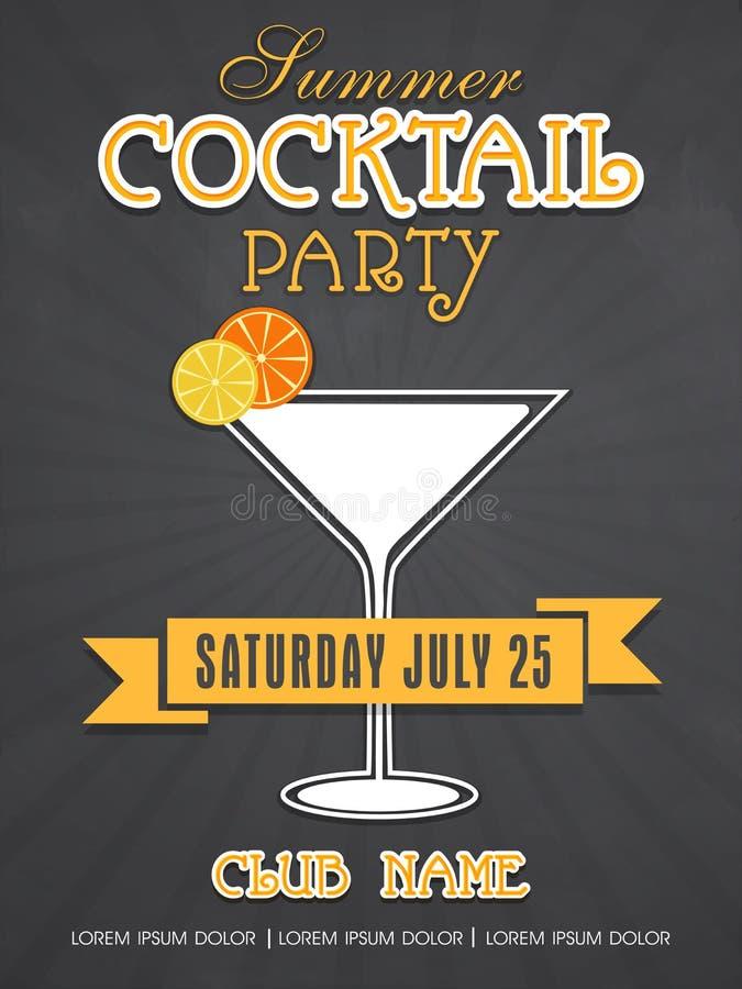 Het ontwerp van de uitnodigingskaart voor de zomercocktail party stock illustratie