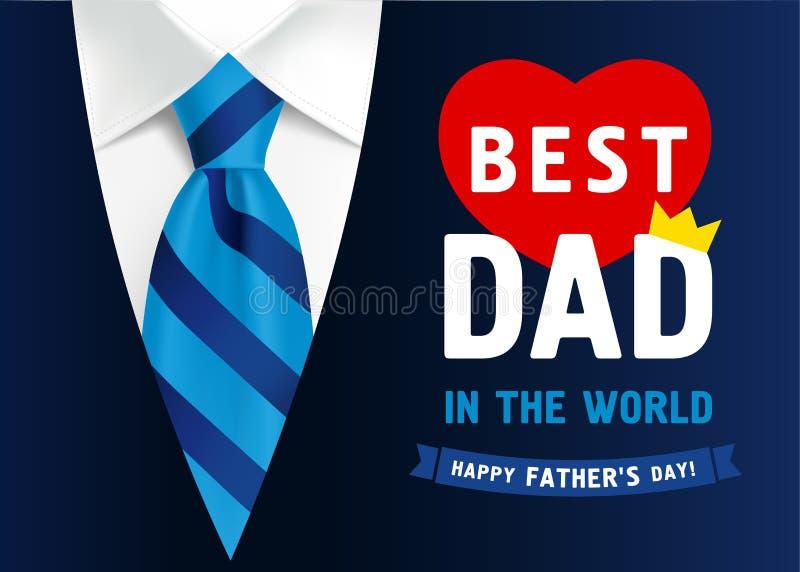 Het ontwerp van de vaderdagbanner met van letters voorziende Beste Papa in de wereld royalty-vrije illustratie