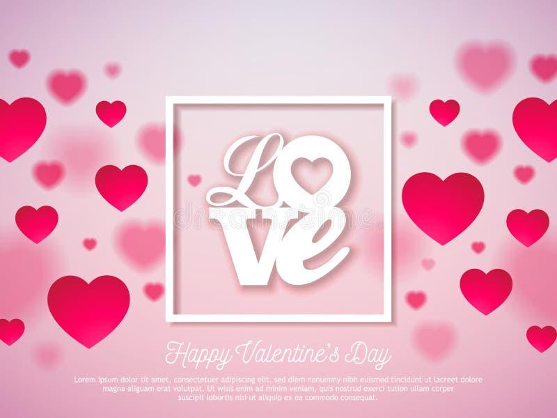 Het Ontwerp van de valentijnskaartendag met Rode Hart en Liefdetypografiebrief op Glanzende Roze Achtergrond Vectorhuwelijk en Ro royalty-vrije illustratie