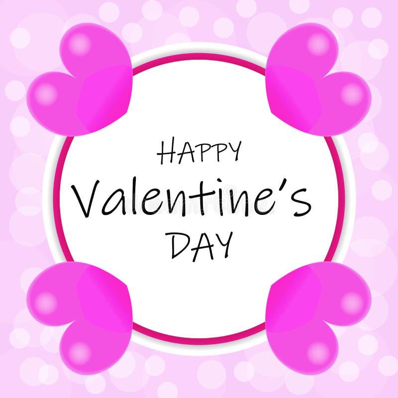 Het ontwerp van de valentijnskaartendag met roze harten stock illustratie