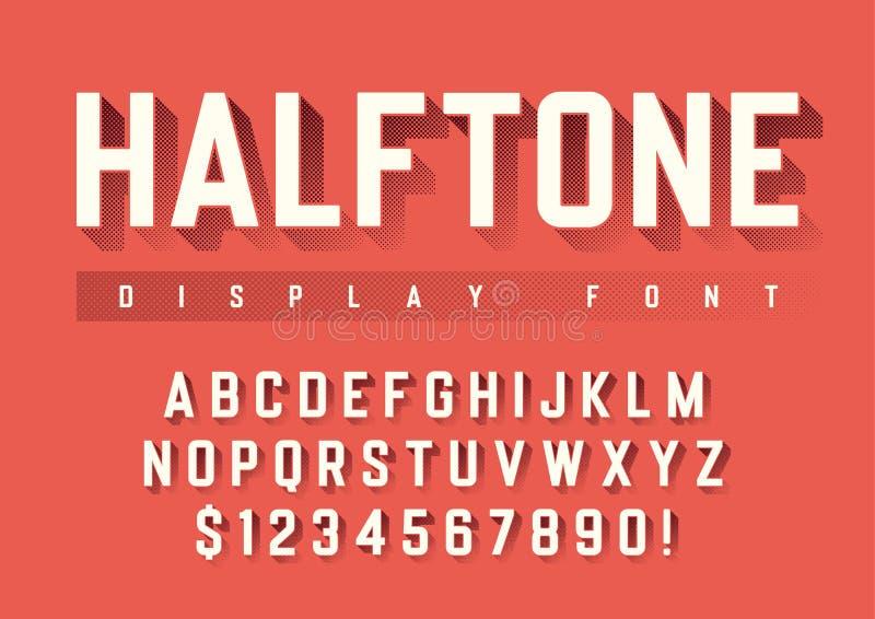 Het ontwerp van de vectorvertoningsdoopvont met halftone schaduw, alfabet, chara royalty-vrije illustratie