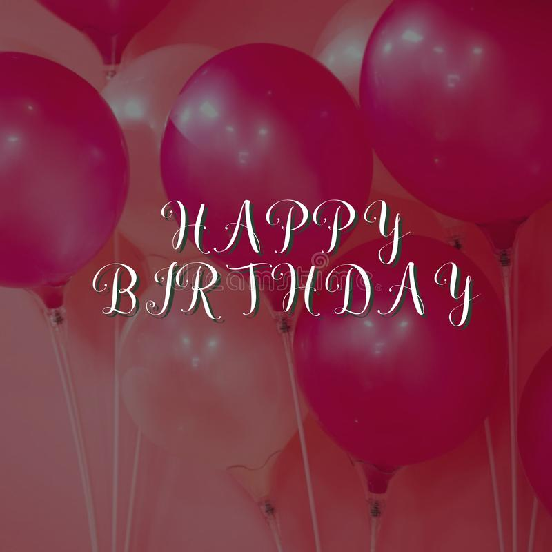 Het ontwerp van de verjaardagskaart met ballonachtergrond stock fotografie