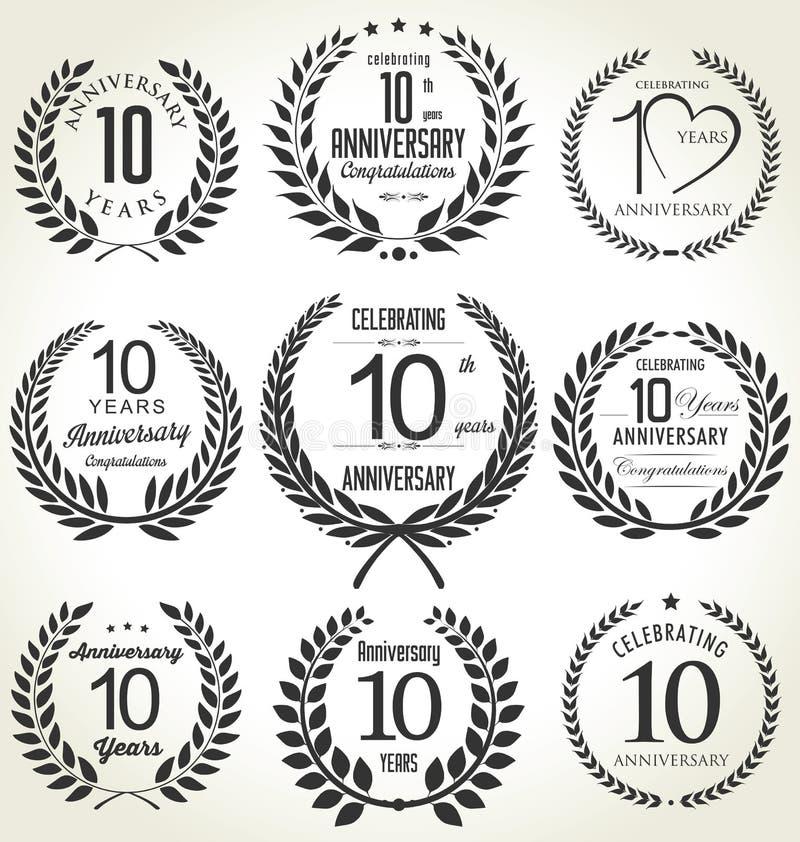 Het ontwerp van de verjaardagslauwerkrans, 10 jaar vector illustratie