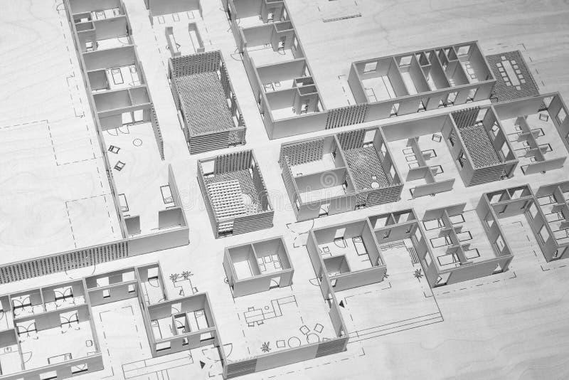Het ontwerp van het de vloermodelproject van het het ziekenhuismoederschap Architectuurrug stock afbeelding