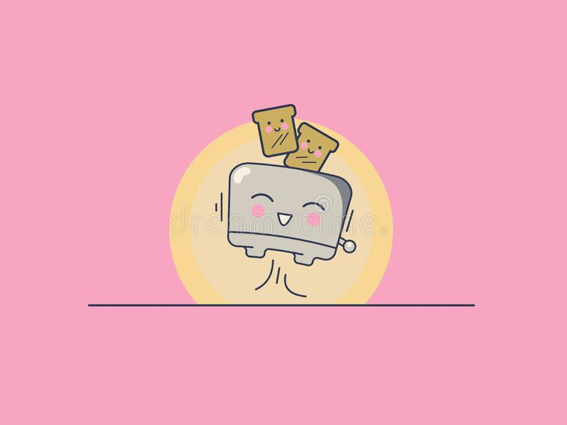 Het ontwerp van de voedselaffiche met broodrooster stock foto