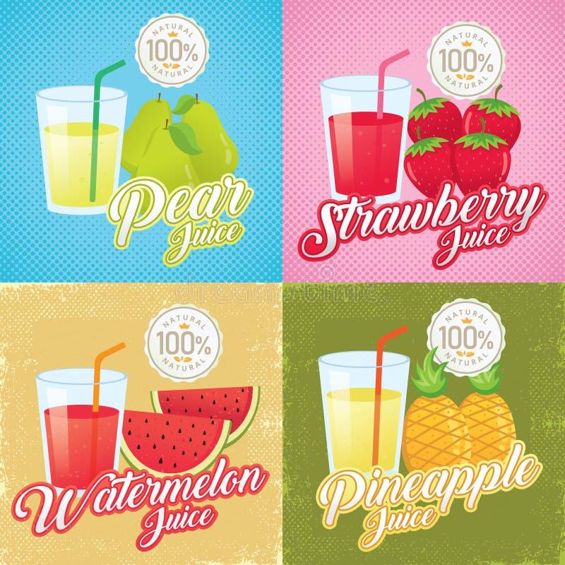 Het ontwerp van de vruchtensappenaffiche vector illustratie