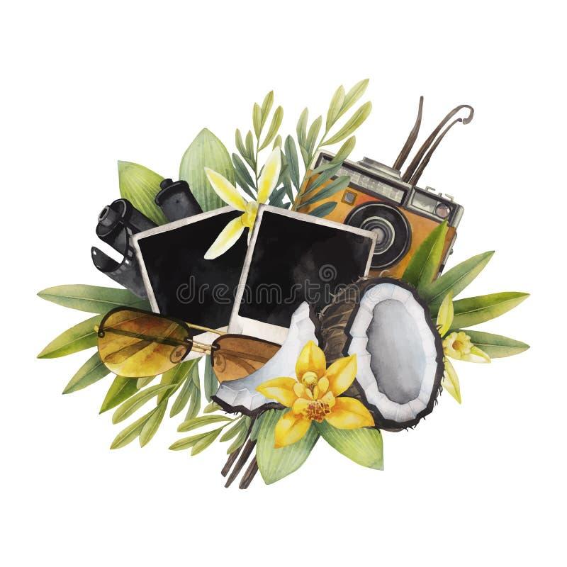 Het ontwerp van de waterverfzomer stock illustratie