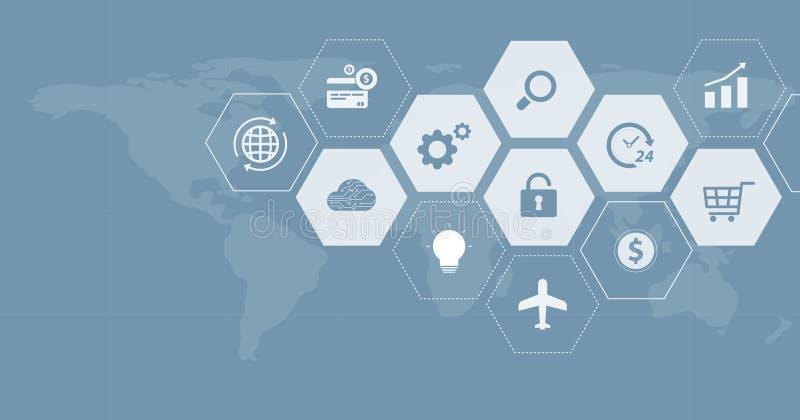 Het ontwerp van de Webbanner voor mondiaal bedrijfs financieel online verbindingsnet vector illustratie