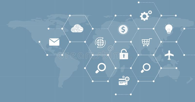 Het ontwerp van de Webbanner voor mondiaal bedrijfs financieel online verbindingsnet stock illustratie