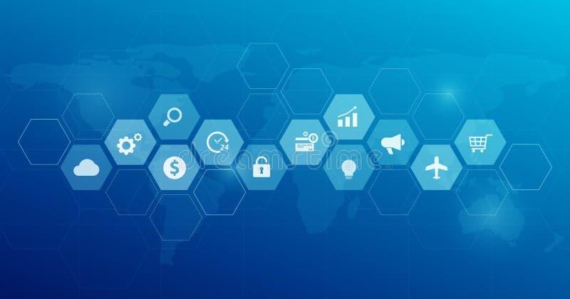 Het ontwerp van de Webbanner voor mondiaal bedrijfs financieel online verbindingsnet royalty-vrije illustratie