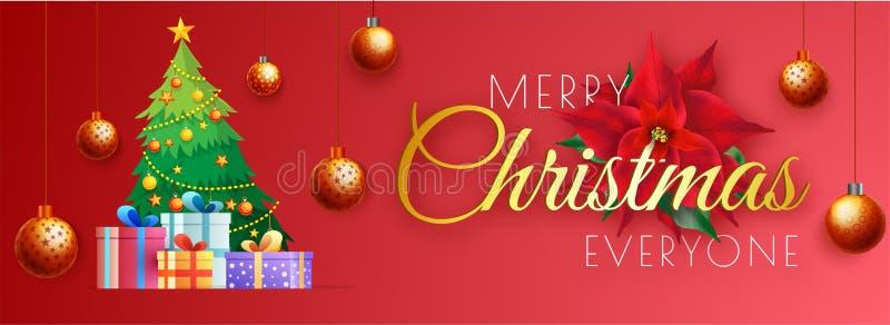 Het ontwerp van de websitebanner met Kerstmisboom en giftvakjes op rode backg stock illustratie