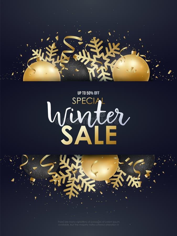 Het ontwerp van de de winterverkoop met gouden en zwarte Kerstmisdecoratie vector illustratie