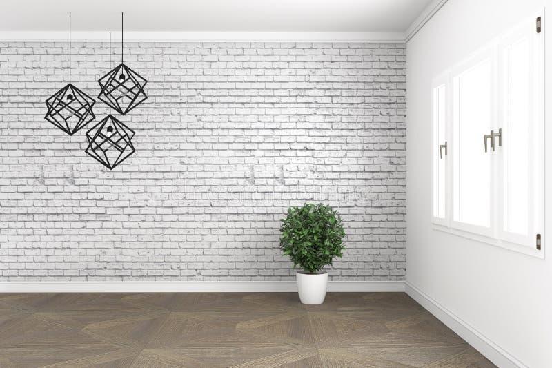 Het ontwerp van de zolderruimte, met lamp en installaties op witte vensters in bakstenen muur op houten vloer het 3d teruggeven vector illustratie