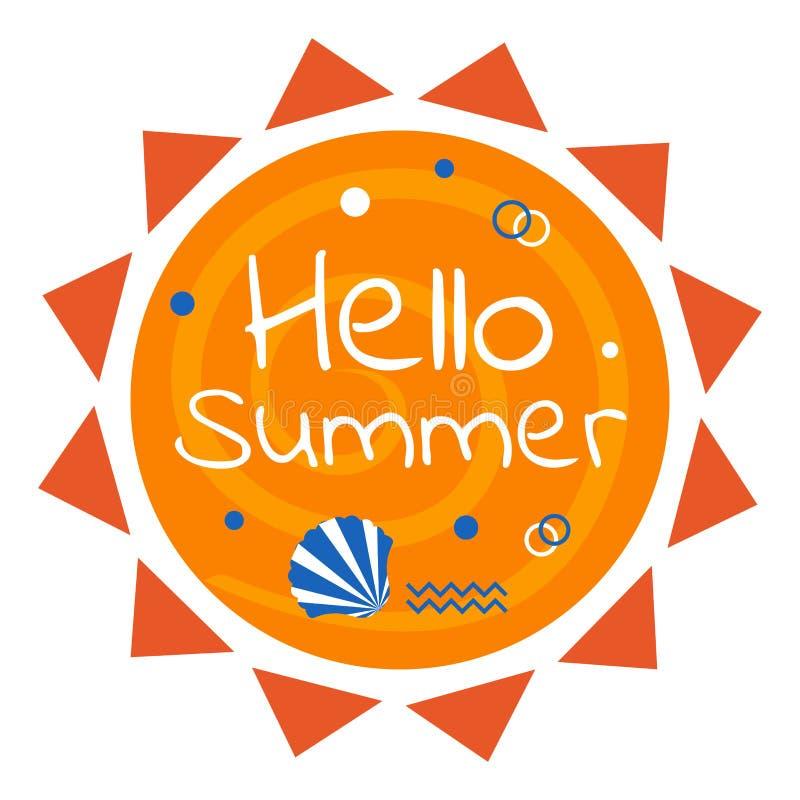 Het ontwerp van de de zomerzon, kleurrijk de zomeretiket, vectorillustratie royalty-vrije illustratie