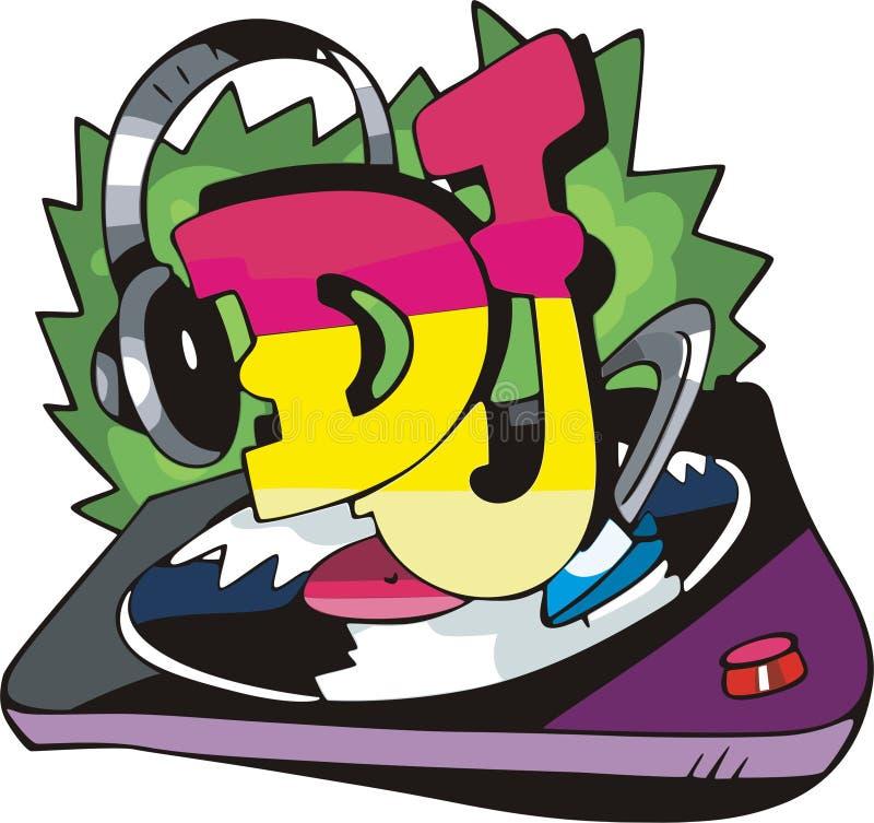 Het ontwerp van DJ met verslagvinyl en oortelefoons vector illustratie
