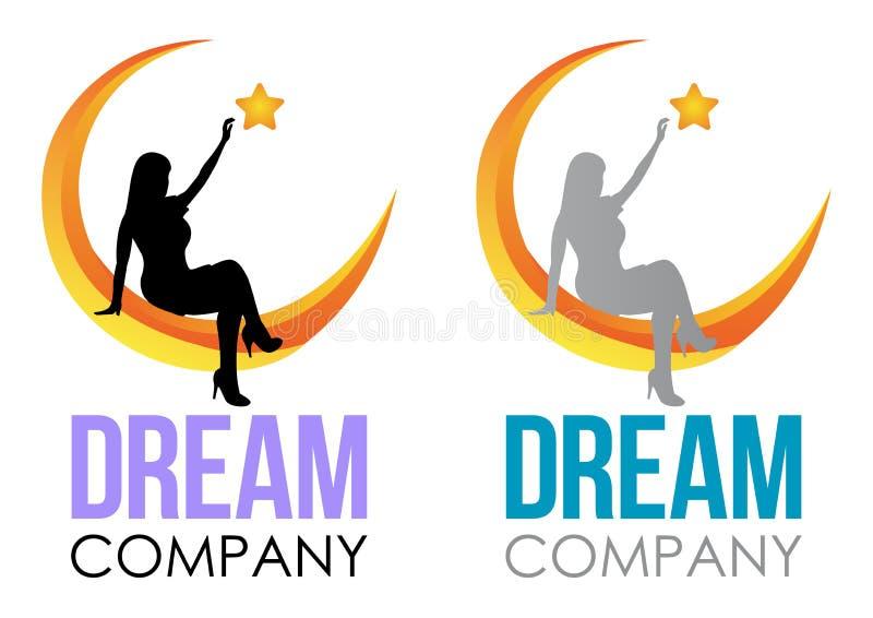 Het ontwerp van het droomembleem Het vectorteken van de Malplaatjeslaap Meisjeszitting op de maan en het bereiken omhoog voor ste royalty-vrije illustratie