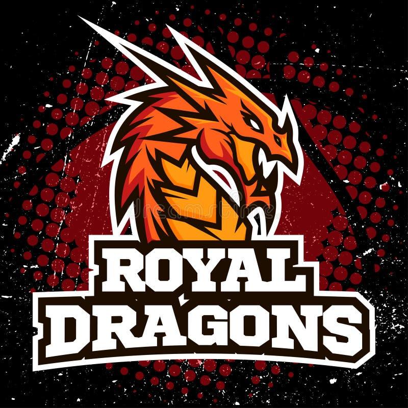 Het ontwerp van het het embleembasketbal van de draaksport royalty-vrije illustratie