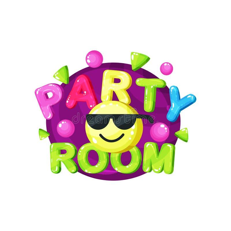 Het ontwerp van het het embleemmalplaatje van de partijruimte, helder kleurrijk embleem voor kinderachtige speelplaats, de streek vector illustratie