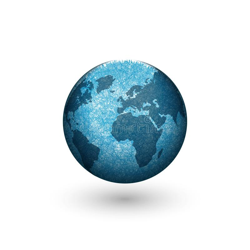 Het ontwerp van het het embleemmodel van de aardebol, creatieve 3d vorm blauwe planeet met continenten royalty-vrije illustratie