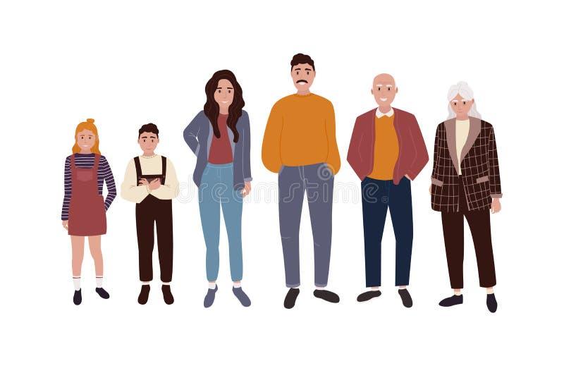 Het ontwerp van het familiekarakter royalty-vrije illustratie