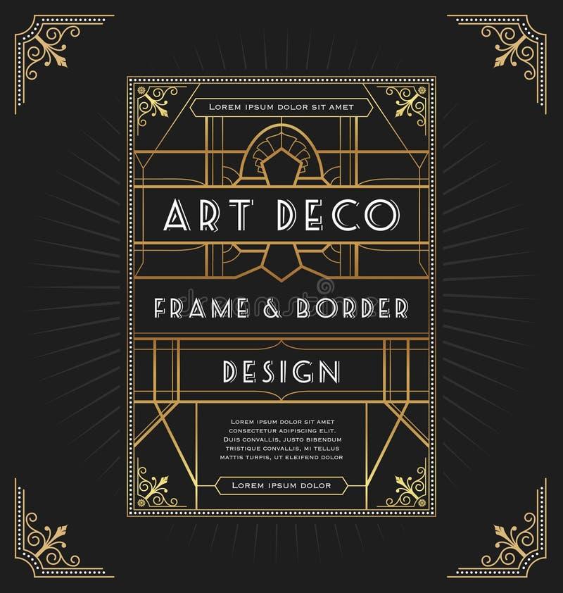 Het ontwerp van het art decokader voor uw ontwerp royalty-vrije illustratie