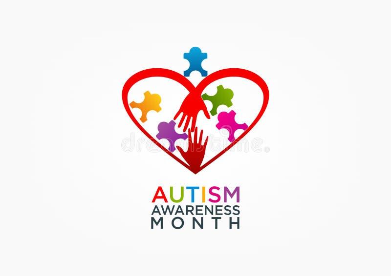 Het ontwerp van het autismeembleem vector illustratie