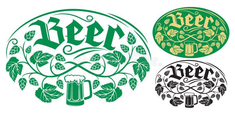 Het ontwerp van het bieretiket stock illustratie