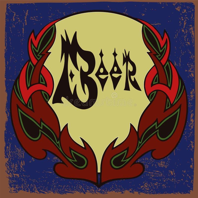 Het ontwerp van het bieretiket met ornamentkader royalty-vrije illustratie