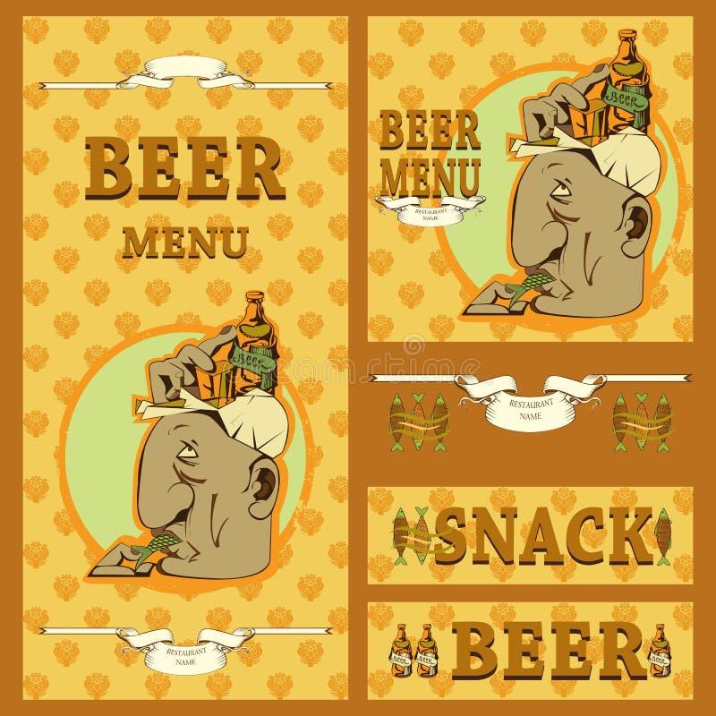 Het ontwerp van het biermenu met diverse elementen stock illustratie