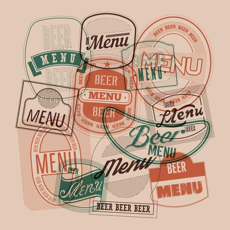 Het ontwerp van het biermenu met retro bier etiketteert zegels Vector illustratie vector illustratie