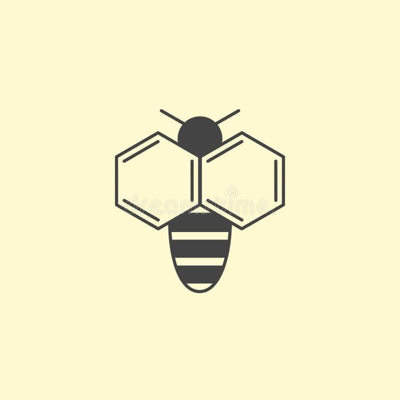 Het ontwerp van het bijenembleem Insect logotype met naftaleenvleugel stock illustratie