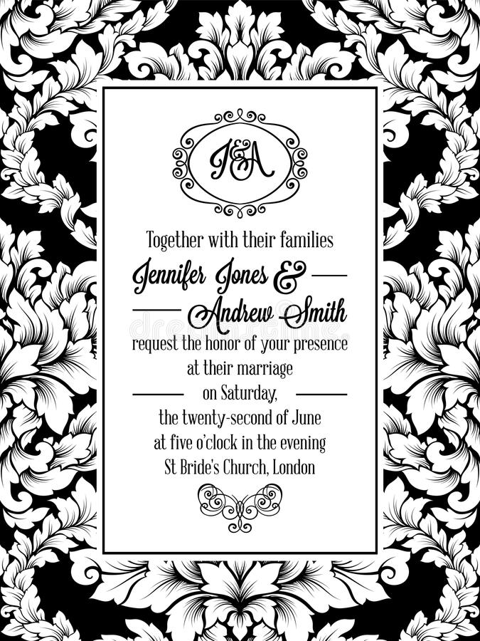 Het ontwerp van het damastpatroon voor huwelijksuitnodiging in zwart-wit Brokaat koninklijk kader en uitstekend monogram stock illustratie