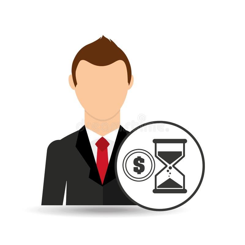 Het ontwerp van het de klokgeld beeldverhaal van het bedrijfsmensenzand vector illustratie