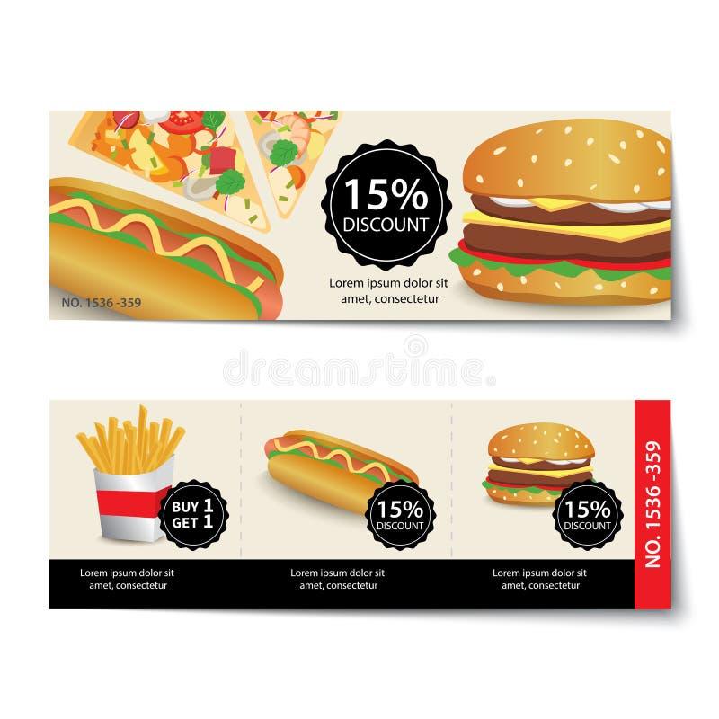 Het ontwerp van het de kortingsmalplaatje van de snel voedselcoupon stock illustratie