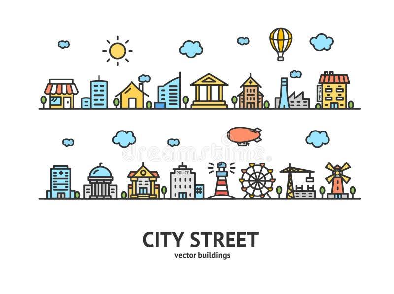 Het Ontwerp van het de Woningbouwoverzicht van de stadsstraat Vector vector illustratie