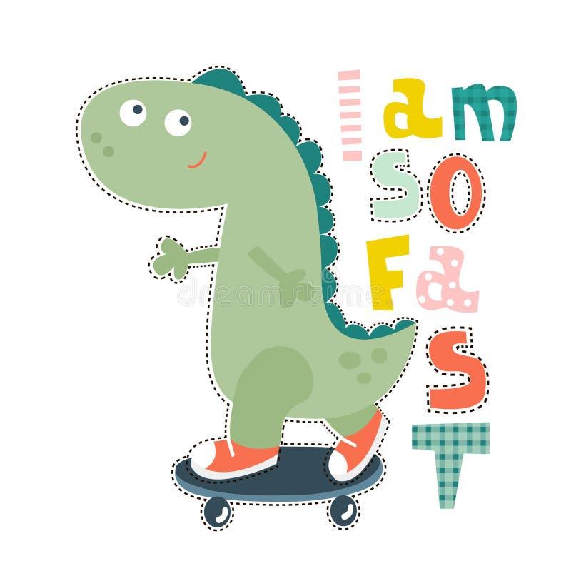 Het ontwerp van het dinosauruskarakter voor babymanier De druk van t-shirtjonge geitjes vector illustratie