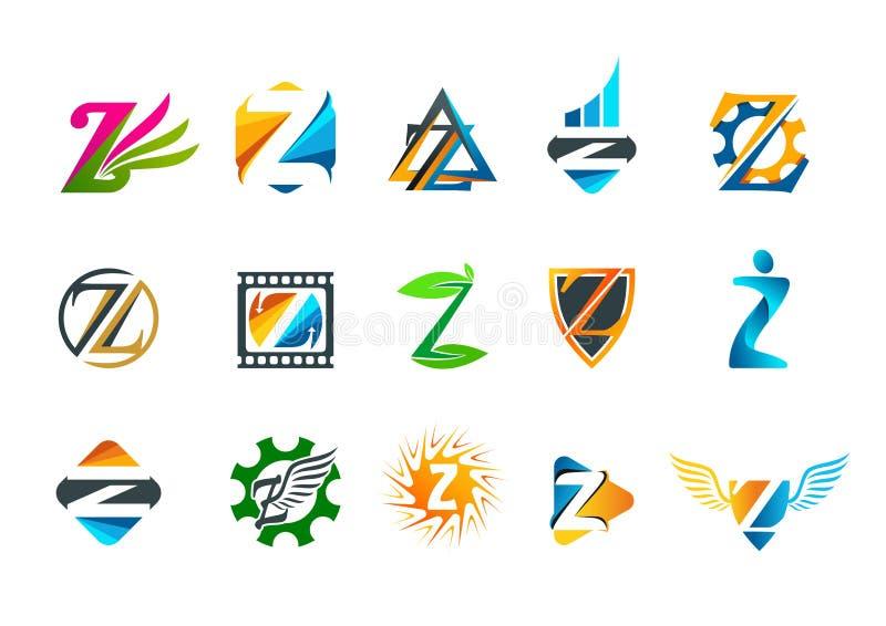 Het ontwerp van het het conceptenembleem van het brievenz symbool vector illustratie
